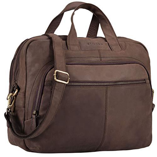 STILORD 'Alan' Maletín o Bolso de Hombro Grande de Cuero Vintage Bolsa de portátil de 15.6' Trabajo u Oficina Bolso de Negocios o Profesor de auténtica Piel, Color:marrón Oscuro - Opaco