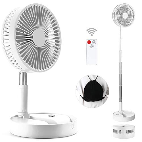 SDYXJ Portable Fan Rechargeable, Stand & table fan Folding Telescopic & Adjustable Height With 4 Speeds Quiet Remote Control for Office Home Outdoor Camping