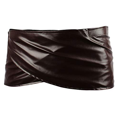 Angelaicos Unisex Short Faux Leather Brown Miniskirts (S)