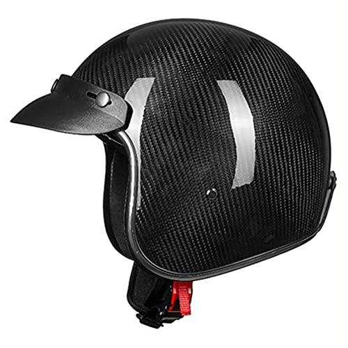 Casco De Moto De Cara Abierta 3/4 De Fibra De Carbono Aprobado ECE Casco Jet De Motocicleta De Estilo Alemán Para Hombre Y Mujere Casco De Moto Retro Vintage Con Cierre Rápido G,L