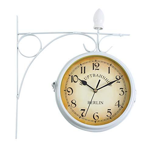 Ridgeyarde Doble Cara Reloj de Pared de hogar jardín Interior estación Fuera de Soporte (Blanco)