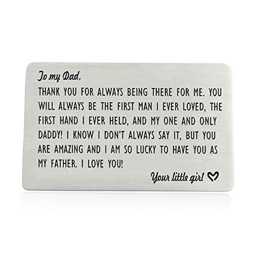 Dad Gifts from Daughter, Engraved Wallet Inserts for Father Papa, Fathers Day Birthday Wedding Thank You Gifts for Daddy from Daughter Kids