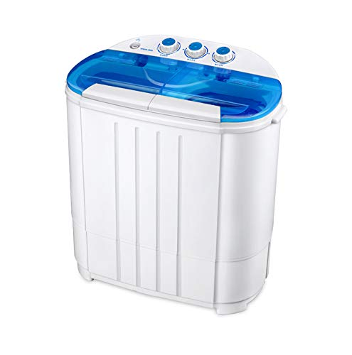 Price comparison product image Garatic Portable Compact Mini Twin Tub Washing Machine w / Wash and Spin Cycle,  Built-in Gravity Drain,  13lbs Capacity For Camping,  Apartments,  Dorms,  College Rooms,  RVs,  Delicates and more
