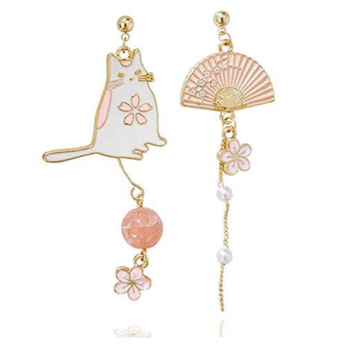 Ruby569y - Pendientes de oreja asimétricos creativos, con forma de gato, diseño floral, diseño de gato, joyería de moda para Navidad, regalo