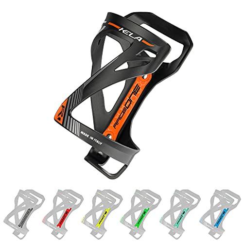 P4B | Flaschenhalter für Ihr Fahrrad in Black/Orange - KELA | Flaschenhalter Fahrrad orange | 3 Verschiedene Wege um die Flasche einzufügen | Sehr Robustes Material | Mit Befestigungsschrauben