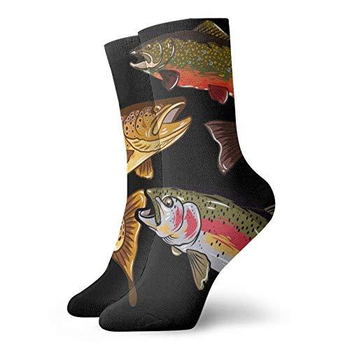 Pesca trucha tributo unisex transpirable divertido cuarto calcetines correr calcetines de las mujeres calcetines atléticos para atlético