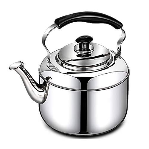 WKDZ Estufa Top Hervidor de Acero Inoxidable 304, Tetera de Gran Capacidad SHIDERLING Tea TETTLE con Mango ERGONÓMICO PERSONALENTE Personal (Color : Silver, tamaño : 5L)