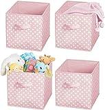 4 cajas de almacenamiento para almacenar juguetes o ropa en la habitación de los niños caja de almacenamiento de juguete con patrón de línea de puntos - gris y blanco-Octavo_Turquesa / Blanco