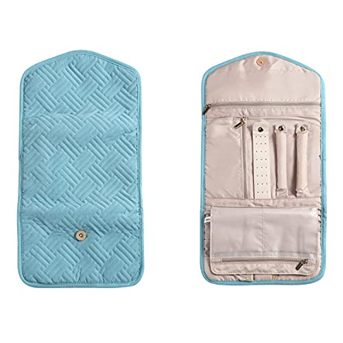 LiuliuBull Caja de Almacenamiento de joyería Plegable portátil Pendientes de Anillo Caso de Viaje Joya de Viaje Bolsa de Almacenamiento Pantalla Organizador Rollo Caja de contenedor (Color : Green)