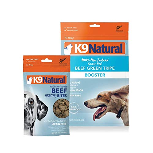 K9 Natural Grain-Free Dog Beef Tripe Booster 8.8oz and Air Dried Beef Lung Treats 2oz Bundle