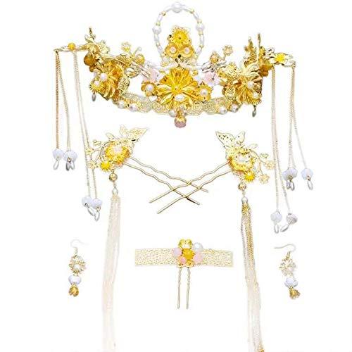 Nieuwe Chinese Nieuwjaar Bruiloft Tiara Vintage Goudvis Water Accessoires Phoenix Jurk Accessoires