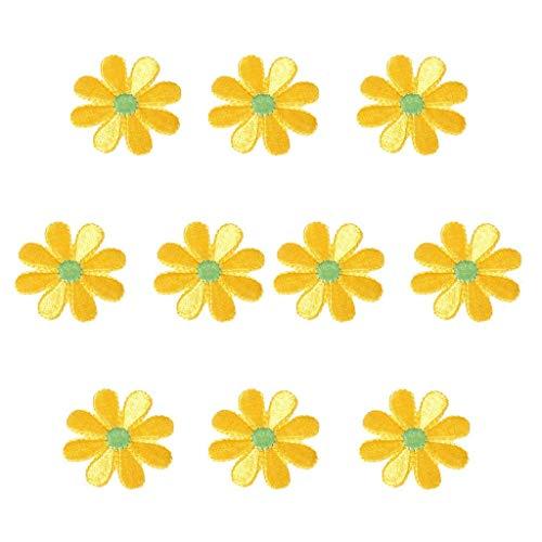 BigBigShop 10 stks Geborduurde Applique Bloem Patches Badge voor Jeans Tassen Jassen Tafelkleed Bed Sheets (Geel) Geel