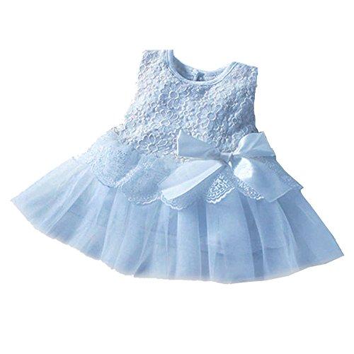 Yimidear ベビードレス 子供ドレス ガールズ チュールスカート 赤ちゃん 洋服 ワンピース 可愛い リボン 発表会 結婚式 入園式 誕生日 クリスマス パーティー フォーマルドレス(長さ:33CM, ブルー)