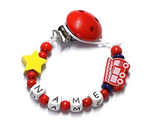 Baby Schnullerkette mit Perlen aus Holz und Wunschname. Feuerwehr 112