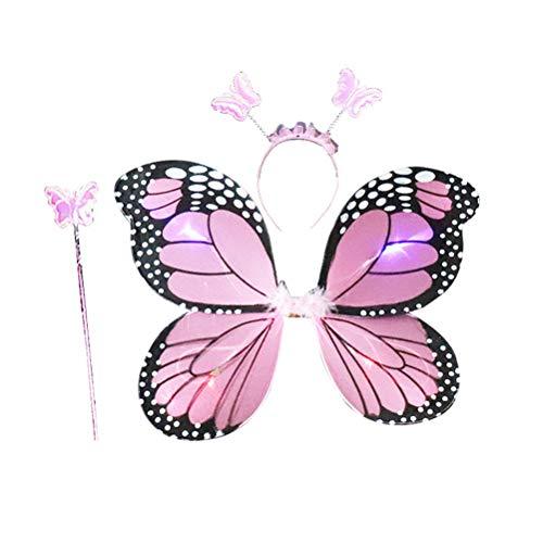 Amosfun 3 Piezas Set de Disfraz de Mariposa de Niñas Alas de Mariposa Diadema Varita para Niñas (Rosa)