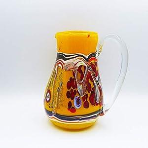 Jarra estilo: bocetos amarillo de cristal de Murano abierto a mano, con manchas y hilos opacos fundidos en su interior. Original Murano Glass. Fabricado en Italia.