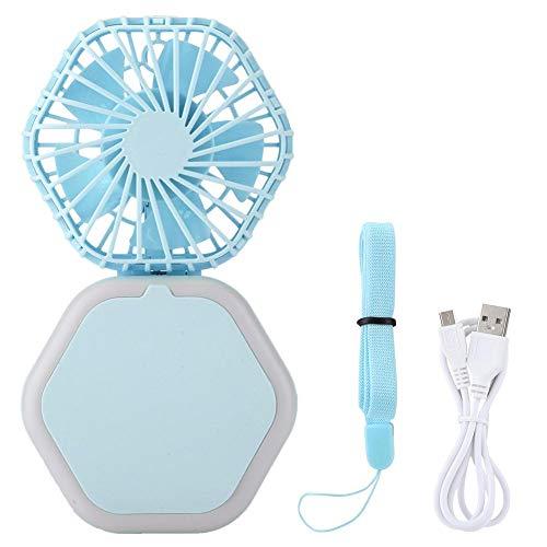 USB-ventilatoren voor bureau Draagbare mini-USB-bureauventilator Opvouwbare USB-oplaadventilator met spiegel LED-lampje 3 in 1 Multifunctionele persoonlijke USB-ventilator 3 niveaus Wind(Blauw)