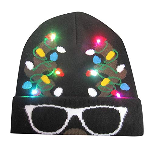 Dasongff Weihnachten Mütze LED Aufhellen Strickmütze Gestrickt Hässlich Sweatshirt Urlaub Unisex Strickmütze Cap Hut 3D Funny Weihnachtsmützen Partyhut
