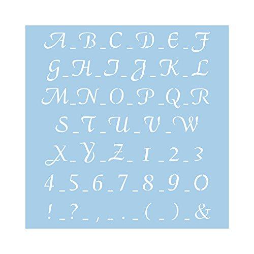 Rayher 3836500 Schablone, klassische Schrift, 30x30 cm, Buchstaben, Zahlen, Sonderzeichen, Höhe 3 cm, maximale Breite 3,7 cm, Malschablone, Wandschablone, Kunststoff, biegsam, formstabil, transparent