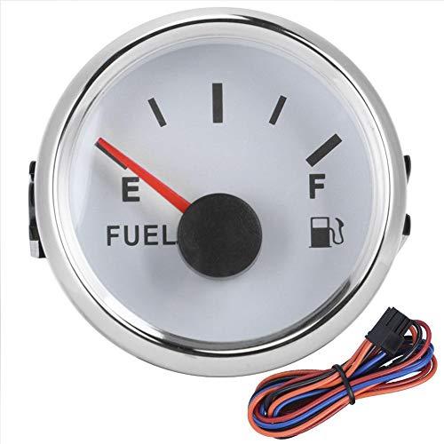 Medidor de nivel de combustible medidor de nivel de tanque de aceite de 52 mm/2 pulgadas medidor de puntero de señal de 0-190ohm para coche de barco marino(Marco de plata esfera blanca)