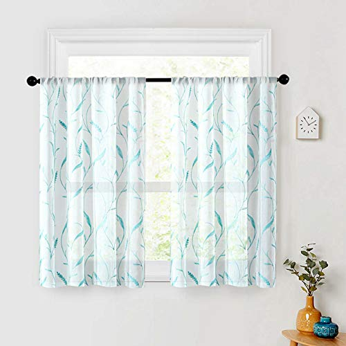 MRTREES Sheer Tier Curtains 24 inch Length Leaves Embroidered Kitchen Tiers Bathroom Voile Rod Pocket Short Window Treatment 2 Panels Cafe Curtains Aqua Blue Wheat Spike Embroidery on White