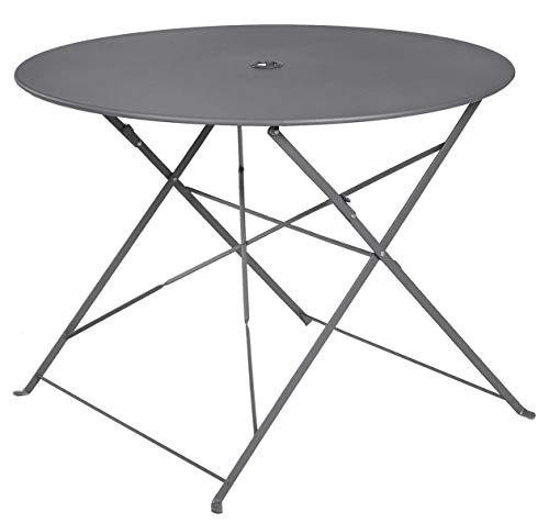 PEGANE Table Ronde Pliante en métal, Coloris Anthracite - Dim : D100 x 70cm