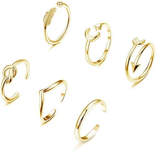 YADOCA 6 Piezas Anillo Ajustable para Mujeres Niñas Simple Anillo Luna Estrella Anillo Articulado Set Anillos Mujer Regulable Plata Oro Rosa Oro