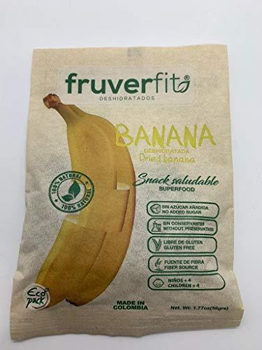 FruverFit Banana Organica Deshidratada - 12 unidades x 50 Gramos - 100% Natural, sin aditivos ni Conservantes, Libre de Gluten - Con en Vitaminas A, E, C