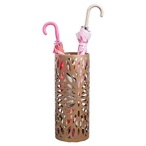 ZHWDD metalen ronde paraplu standaard, met verwijderbare waterbak met haak gouden, 20X50Cm voor hotels, huizen restaurants, multifunctionele opslag, paraplu afvoer