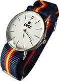 Ekeko Reloj Analogico Unisex maquinaria SL68, Correa de Nylon, Esfera Blanca Modelo ESPAÑA. (37mm)