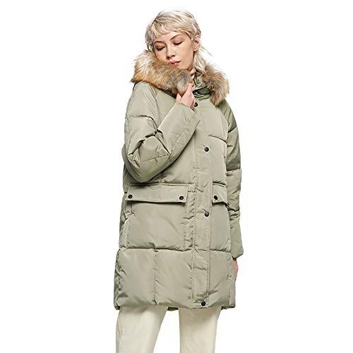 BIXUYAO dames donsjack/winter effen kleur halflang donsjack paragraaf warm los bont kraag jassen