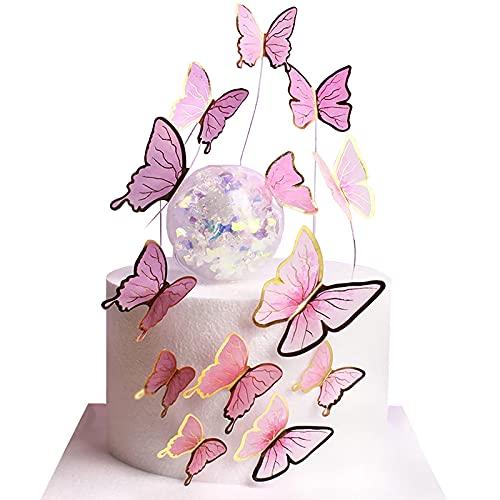 Hileyu 30 Pièces Topper de Gâteau Cupcake de Papillon Papillon Cake Topper Papillon Décoration De Gâteau d'anniversaire pour Anniversaire, Douche de bébé, Anniversaire