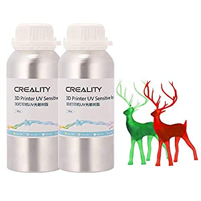 Creality 3D Printer Resin, Smellless LCD UV-Curing Resin 405nm Standard Photopolymer Resin for LCD 3D Printing 500ML Clear Red and 500ML Clear Green