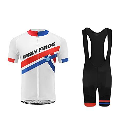 Uglyfrog Radsport Anzüge Herren Kurzarm Trikots+Bib Kurze Hosen Gel Pad Summer Cycling Kit Triathlon Clothes für Radsport Rennrad Einzigartig Designs