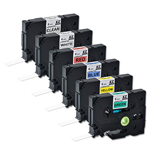 Compatible Tze-111 Tze-211 Tze-411 Tze-511 Tze-611 Tze-711 0.23 Inch 26.2feet (6mm/8m) p Toh Laminated Label Tape PT-H110/PT-D200/PT-D210/PT-D400/PT-D600/PT-1280/PT-1290(6PACK) Combo Set