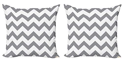 """Ambesonne Grey Decorative Throw Pillow Case Pack of 2, Grey and White Chevron Pattern Classic Geometrical Horizontal Zig Zag Stripes Retro, Couch Bedroom Living Room Cushion Cover, 24"""", Grey White"""