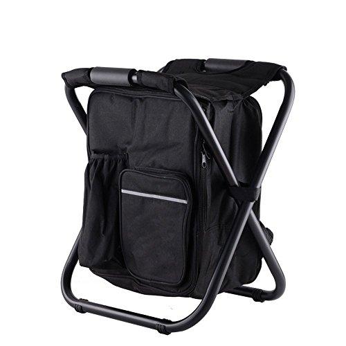 Nadalan Chaise pliante d'extérieur en tissu Oxford double couche pour pêche, plage, camping, maison et sortie (noir)