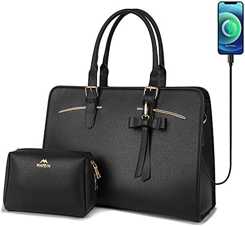 Laptop Tote Bag for Women, 15.6 Inch Large Leather Handbag, Stylish Ladies...