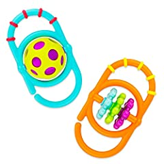 Soft touch rattle is easy for baby to grab and provides a manipulation challenge that's appropriate for baby. Open ends make it easy to link other toys together Inner pieces spin, strengthening hand-eye coordination multi-textured link encourages tac...