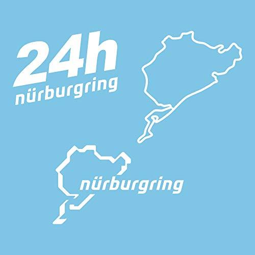 Autodomy Pegatinas Nurburgring Pack de 3 Unidades para Coche o Moto (Blanco)