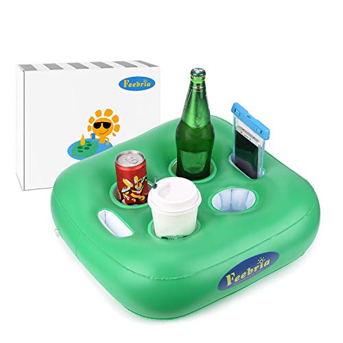 FEEBRIA Inflatable Floating Drink Holder with 6 Holes Large Capacity & Green Material ,Drink Float for Pool Party Beach(Single)
