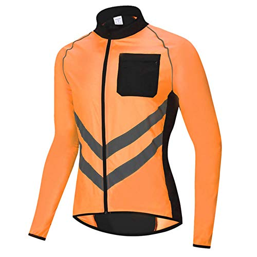 Mens Waterproof Cycling Jacket, Windproof Breathable Reflective Windbreaker Running Jacket, Long Sleeve Softshell Cycling Jersey Bicycle Clothes, for Running, Cycling and Outdoor-Orange M