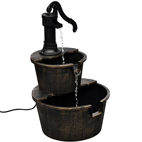 vidaXL Kaskadenbrunnen im Handwasserpumpe-Design Wasserspiel Brunnen Pumpe