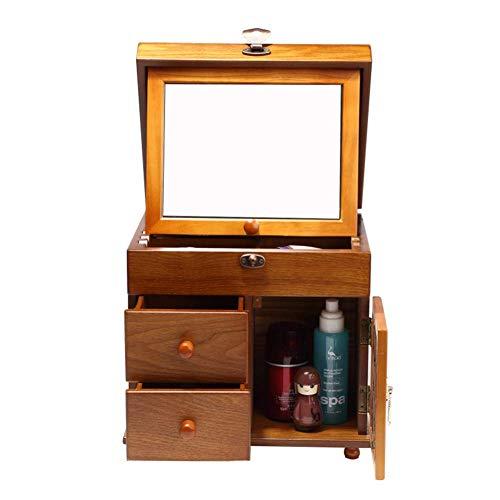 Hoge kwaliteit Houten Jewelry Box, multifunctionele sieraden opbergdoos Retro Grote make-up koffer met spiegel for sieraden Cosmetics