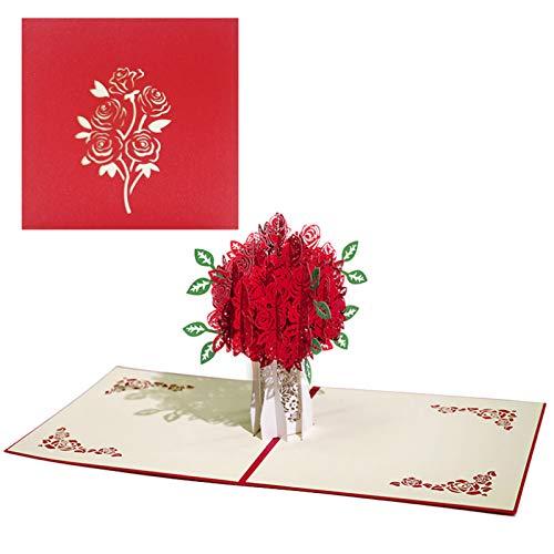 Tarjeta Rosa Roja 3D Tarjeta Pop Up Rosas Rosadas Tarjetas De Boda Tridimensionales Tarjeta De Felicitaciones Tarjeta Emergente para Cumpleaños Boda Graduación Día De San Valentín (1 Pieza)