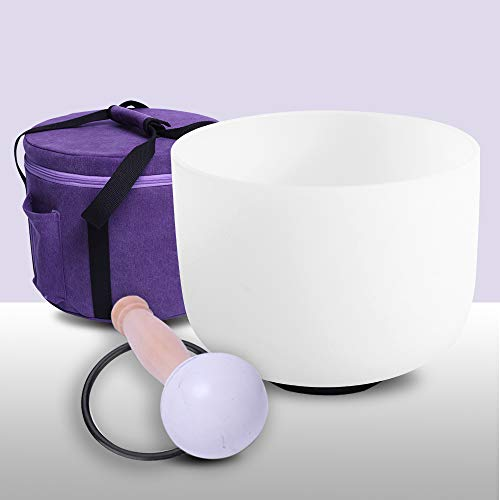 432Hz Perfect Pitch F Note Heart Chakra Frosted Quartz Crystal Singing Bowl 8 Inch Carrier One Rubber Mallet And One O-Ring Included