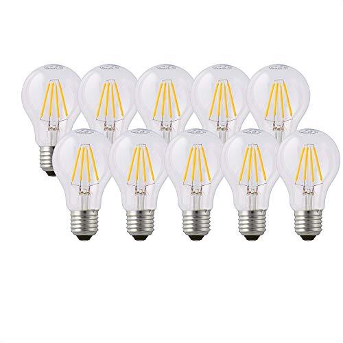 Hellum Bombilla LED con filamento regulable, casquillo E27, luz blanca cálida, 2700 K, 5 W, transparente, 3 unidades, 206500
