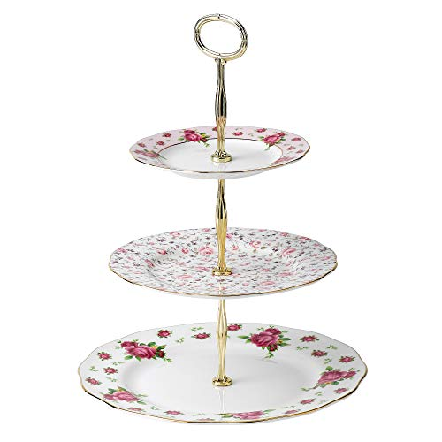 Royal Albert New Country Roses 3-Tier Cake Stand, Mostly White with Multicolored Floral Print