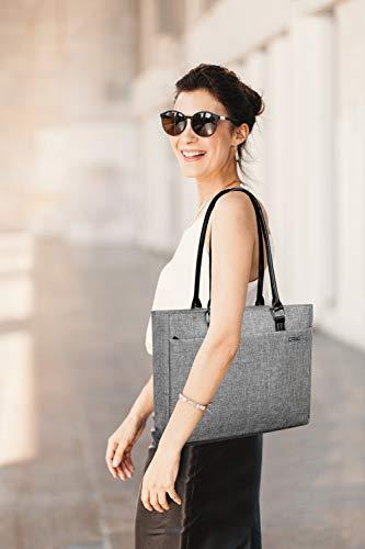 Laptop Tote Bag, DTBG 15.6 Inch Women Shoulder Bag Nylon Briefcase Casual Handbag Laptop Case For 15 - 15.6 Inch Tablet / Ultra-book / Macbook / Chromebook - Grey