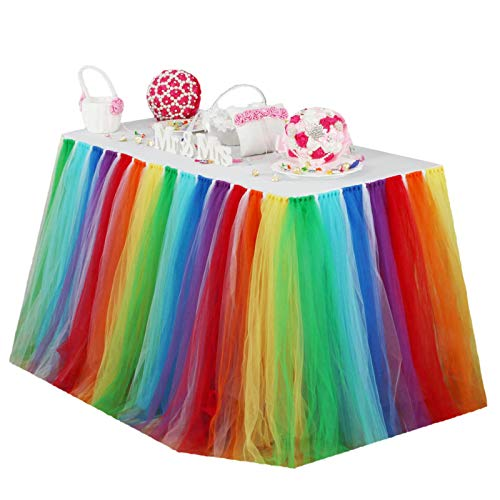 Vlovelife Rainbow Color Tulle Table Skirt Tutu Tableware TableCloth Party Baby Shower Birthday Wedding Decorations Favor 100cm X 80cm Customized Size Available